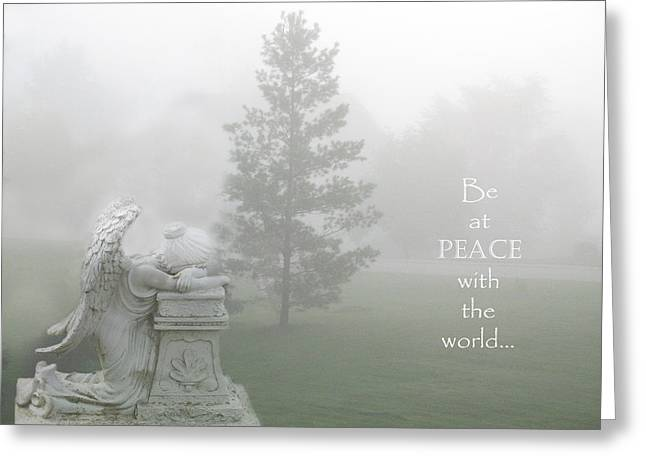Fantasy Tree Art Greeting Cards - Inspirational Angel Art Ethereal Nature - Peace With The World Quote  Greeting Card by Kathy Fornal