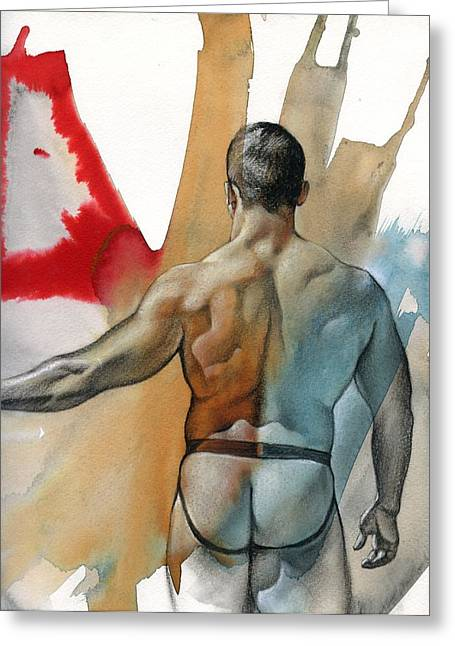 Male Mixed Media Greeting Cards - Instant 3 Greeting Card by Chris  Lopez