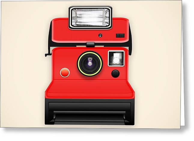 Insert Poster Greeting Cards - Instant Camera With A Blank Photo Greeting Card by Setsiri Silapasuwanchai