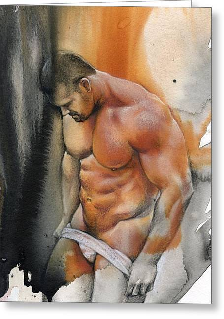Male Mixed Media Greeting Cards - Instant Greeting Card by Chris  Lopez