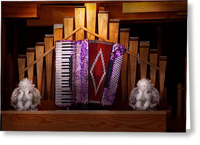 Lessons Greeting Cards - Instrument - Accordian - The accordian organ  Greeting Card by Mike Savad