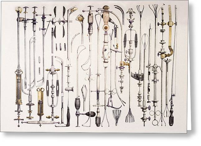Historical Images Greeting Cards - Instruments For Removing Bladder Stones Greeting Card by Mehau Kulyk