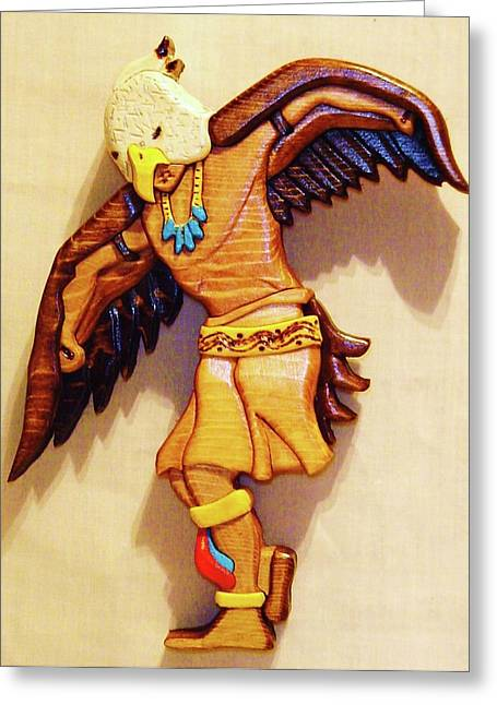 Intarsia Sculptures Greeting Cards - Intarsia Eagle Dancer Greeting Card by Russell Ellingsworth