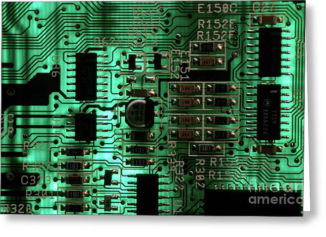 Sami Sarkis Photographs Greeting Cards - Integrated circuit board from a computer Greeting Card by Sami Sarkis