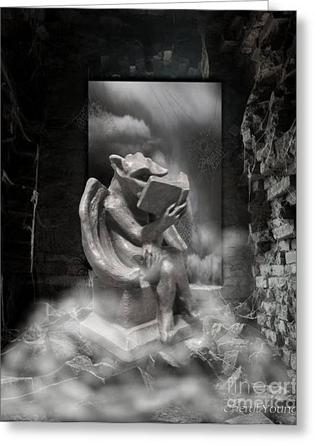 Reading Images Greeting Cards - Intellectual   Gargoyle Greeting Card by Cheryl Young