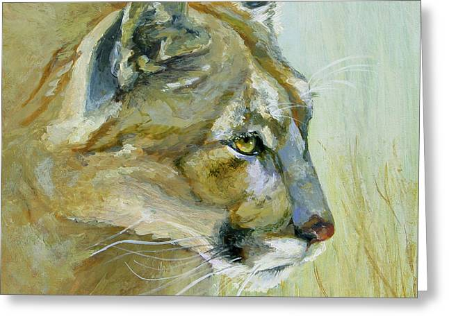 Wild Cats Paintings Greeting Cards - Intense Cougar Greeting Card by Bonnie Rinier