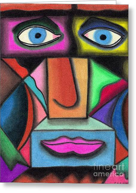 Sadness Pastels Greeting Cards - Intensity Greeting Card by Christine Perry