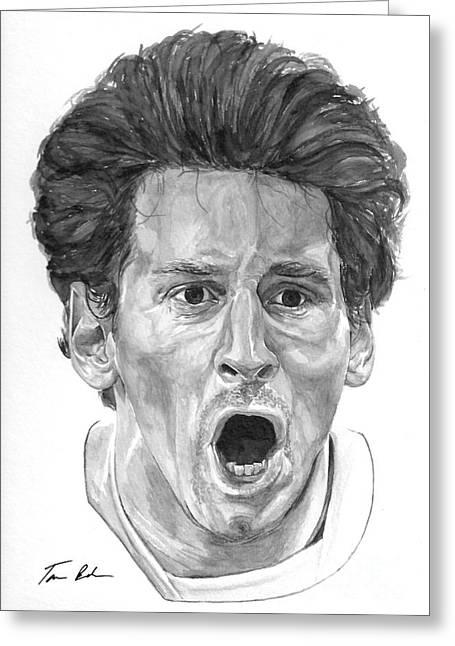 Tamir Barkan Greeting Cards - Intensity Lionel Messi Greeting Card by Tamir Barkan
