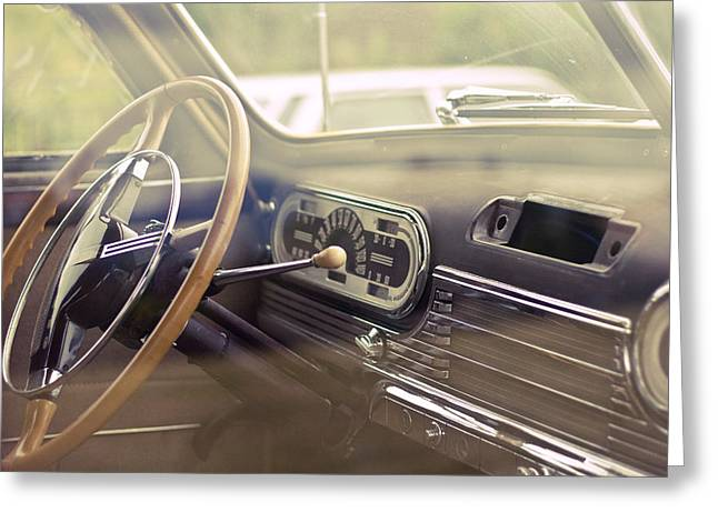 Speedometer Greeting Cards - Interior 1950s Oldsmobile Greeting Card by Nomad Art And  Design