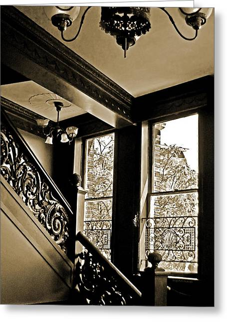 Sepia Chandeliers Greeting Cards - Interior Elegance Lost in Time Greeting Card by DigiArt Diaries by Vicky B Fuller