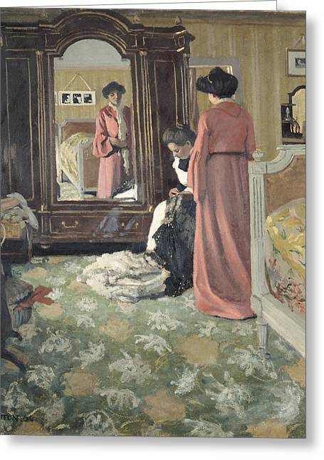 Dressing Room Greeting Cards - Interior Greeting Card by Felix Edouard Vallotton