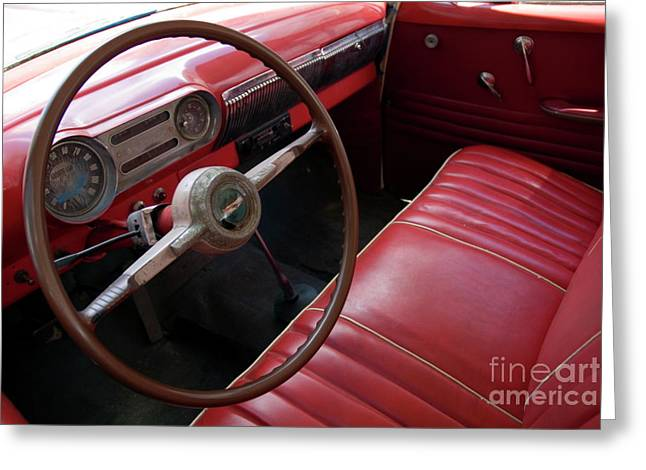 Indy Car Greeting Cards - Interior of a classic American car Greeting Card by Sami Sarkis