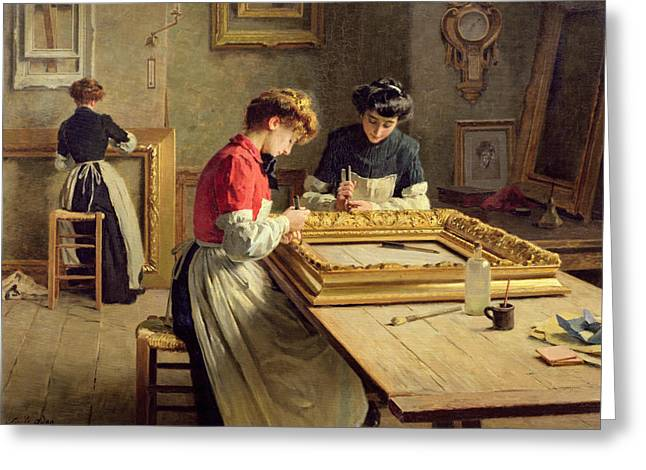 Sleeve Greeting Cards - Interior of a Frame Gilding Workshop Greeting Card by Louis Emile Adan