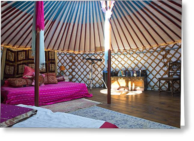 Yurts Greeting Cards - Interior Of A Mongolian Yurt Luxurious Greeting Card by Corepics