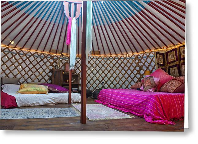 Yurts Greeting Cards - Interior Of A Mongolian Yurt Used Greeting Card by Corepics