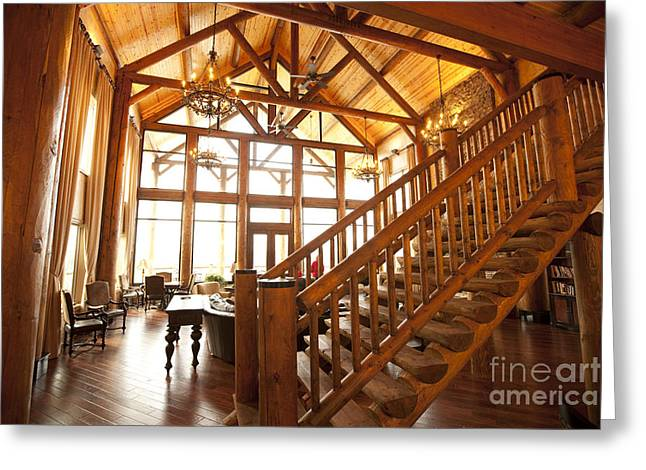 Best Sellers -  - Log Cabin Interiors Greeting Cards - Interior of Large Wooden Lodge Greeting Card by Will and Deni McIntyre