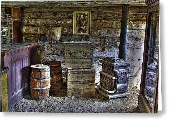 Grocery Store Greeting Cards - INTERIOR of OLD-WEST CHINESE STORE - NEVADA CITY MONTANA Greeting Card by Daniel Hagerman