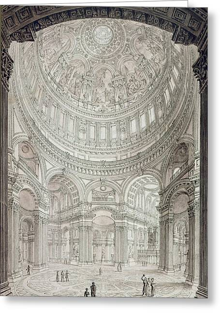 Dome Greeting Cards - Interior of Saint Pauls Cathedral Greeting Card by John Coney