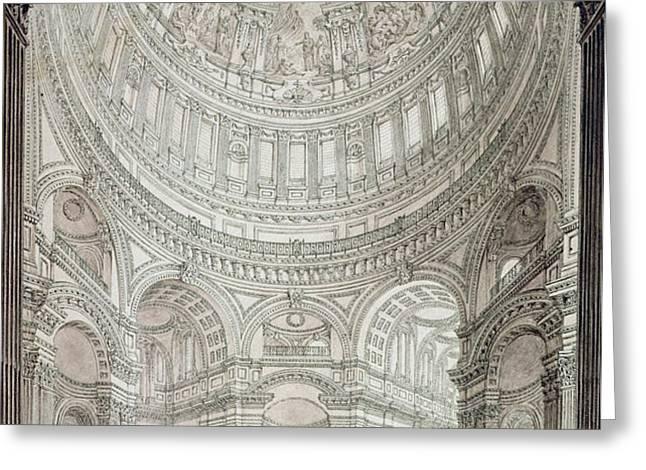 Interior of Saint Pauls Cathedral Greeting Card by John Coney