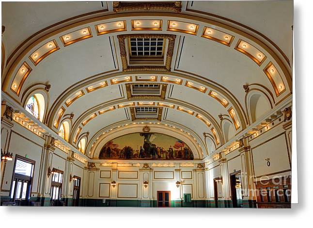 Rail Line Greeting Cards - Interior of Union Pacific Railroad Depot - Salt Lake City Greeting Card by Gary Whitton