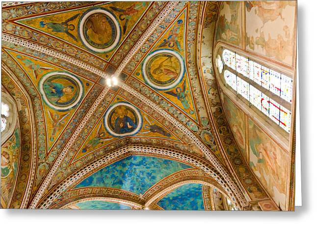 Interior St Francis Basilica Assisi Italy Greeting Card by Jon Berghoff