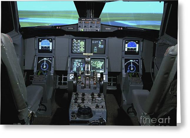 Flight Deck Greeting Cards - Interior View Of An Aircraft Flight Greeting Card by Stocktrek Images