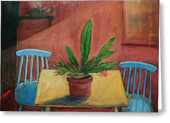Missing Paintings Greeting Cards - Interior with Blue Chairs Greeting Card by Ethel Vrana