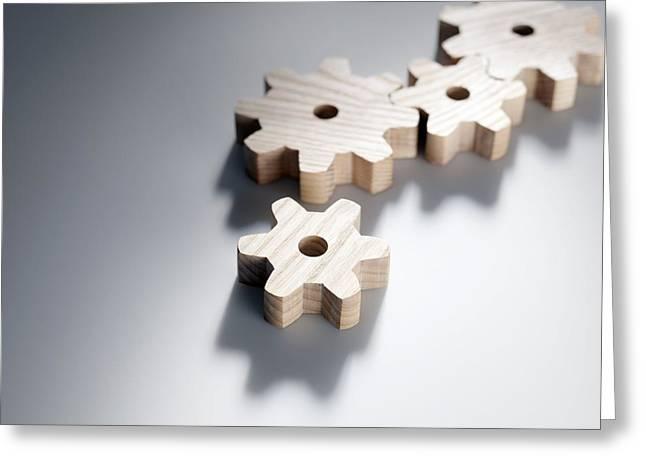 Mechanism Greeting Cards - Interlocking Cogwheels Greeting Card by Tek Image