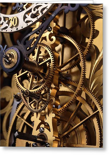 Cog Greeting Cards - Internal Gears Within A Clock Greeting Card by David Parker