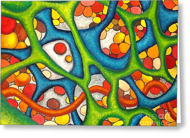 Gouache Abstract Greeting Cards - Internal Passage Greeting Card by Nancy Mueller