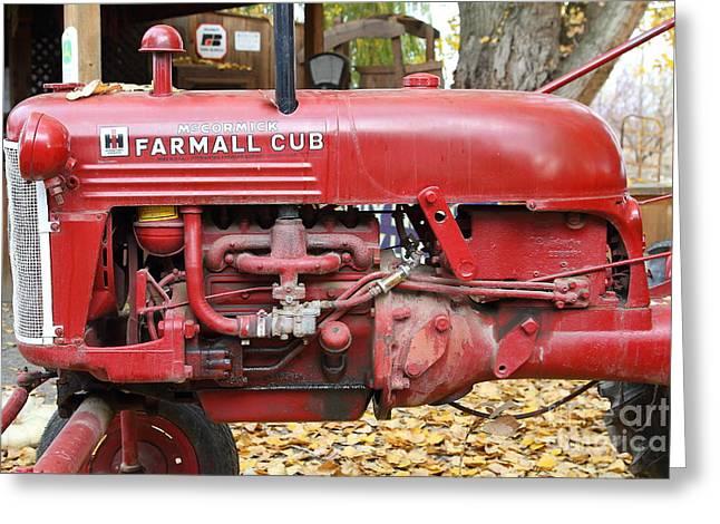 Mccormick Farmall Greeting Cards - International Harvester McCormick Farmall Cub Farm Tractor . 7D10310 Greeting Card by Wingsdomain Art and Photography