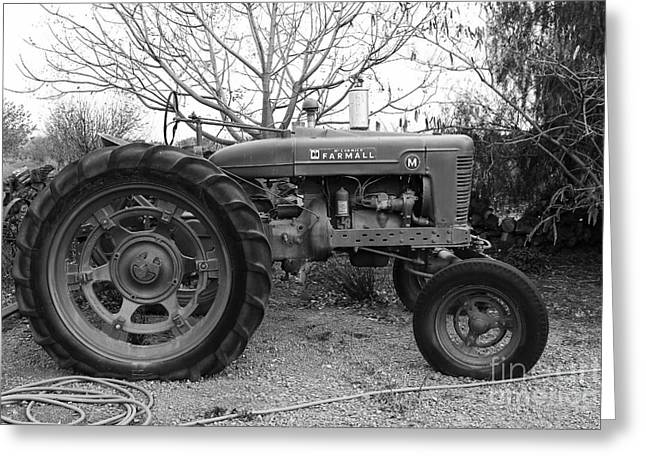 Mccormick Farmall Greeting Cards - International Harvester McCormick Farmall Farm Tractor . 7D10320 . black and white Greeting Card by Wingsdomain Art and Photography