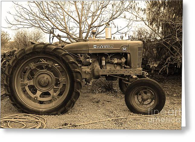 Mccormick Farmall Greeting Cards - International Harvester McCormick Farmall Farm Tractor . 7D10320 . sepia Greeting Card by Wingsdomain Art and Photography