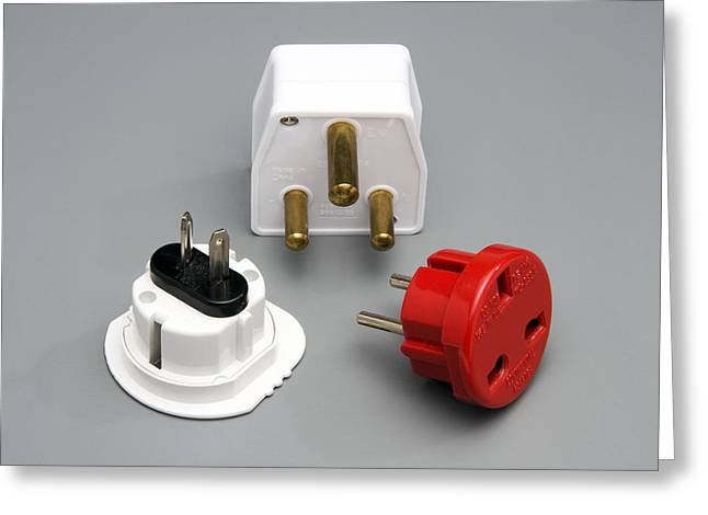 Electrical Plug Greeting Cards - International Plug Adapters Greeting Card by Sheila Terry
