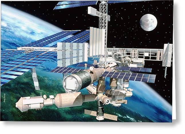 Automated Greeting Cards - International Space Station Greeting Card by David Ducros