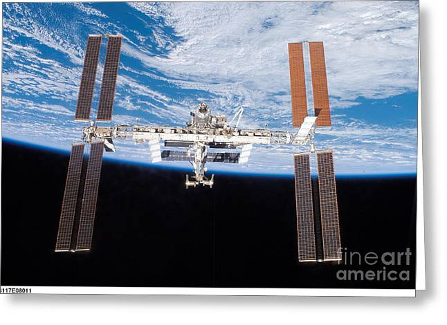 Iss Greeting Cards - International Space Station Greeting Card by ESA/Science Source