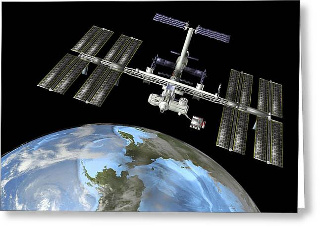 Iss Greeting Cards - International Space Station Greeting Card by Friedrich Saurer