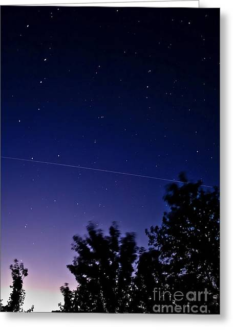 Asterism Greeting Cards - International Space Station Path Greeting Card by Miguel Claro