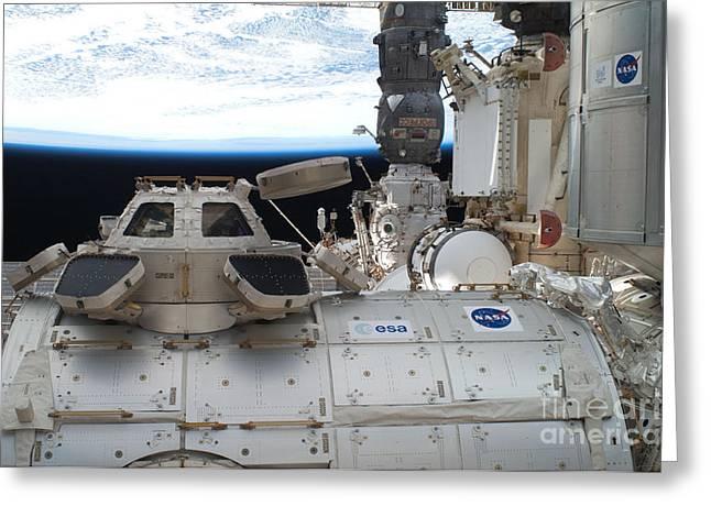 Nasa Space Program Greeting Cards - International Space Stations Cupola Greeting Card by NASA/Science Source