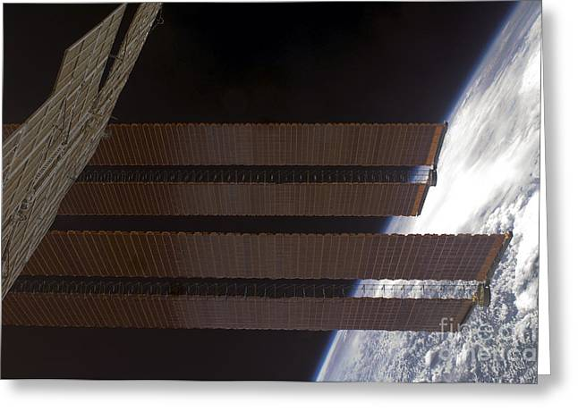 Curvature Greeting Cards - International Space Stations Solar Greeting Card by Stocktrek Images