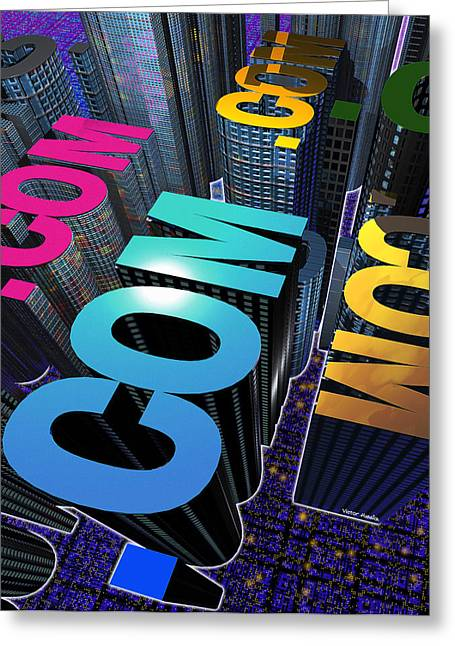 Internet City Greeting Card by Victor Habbick Visions