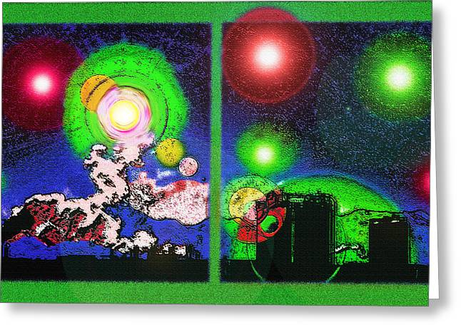 Industrial Concept Mixed Media Greeting Cards - Interplanetary Conceptual Diptych 2 Greeting Card by Steve Ohlsen