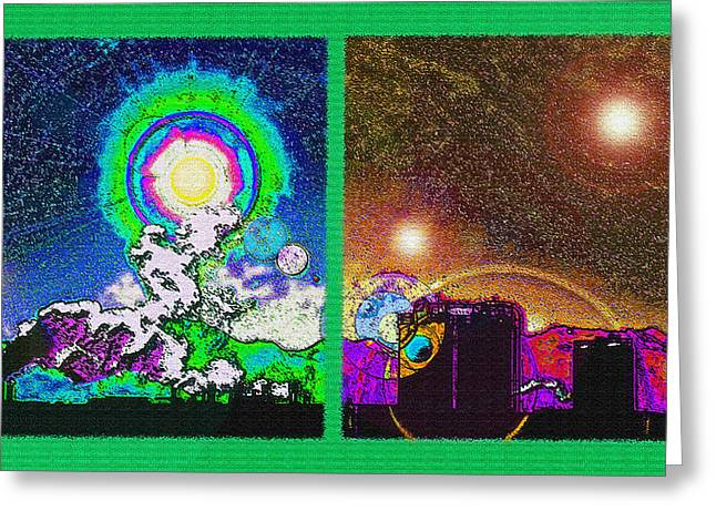 Industrial Concept Mixed Media Greeting Cards - Interplanetary Conceptual Diptych Greeting Card by Steve Ohlsen