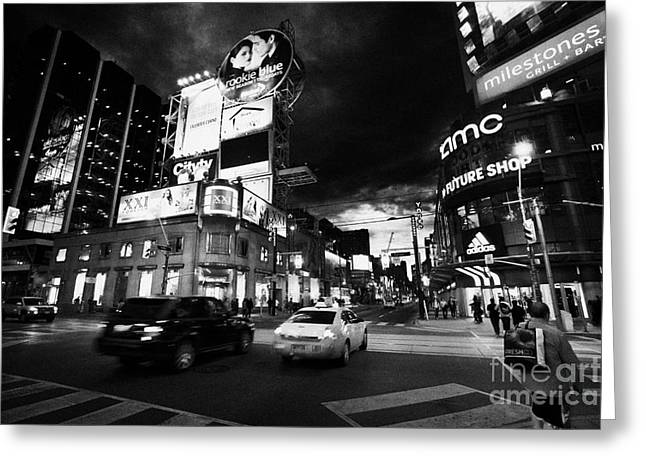 Hoarding Greeting Cards - Intersection Of Yonge And Dundas At Night Yonge-dundas Square Toronto Ontario Canada Greeting Card by Joe Fox