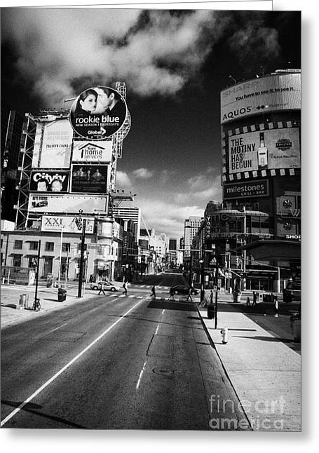 Hoarding Greeting Cards - Intersection Of Yonge And Dundas At Yonge-dundas Square Toronto Ontario Canada Greeting Card by Joe Fox