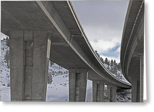 Snowy Day Greeting Cards - Interstate Overpass in Winter Greeting Card by Dave & Les Jacobs