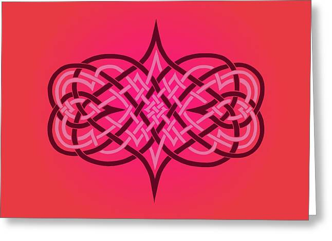 Knotwork Greeting Cards - Interwoven Hearts Greeting Card by Diana Morningstar
