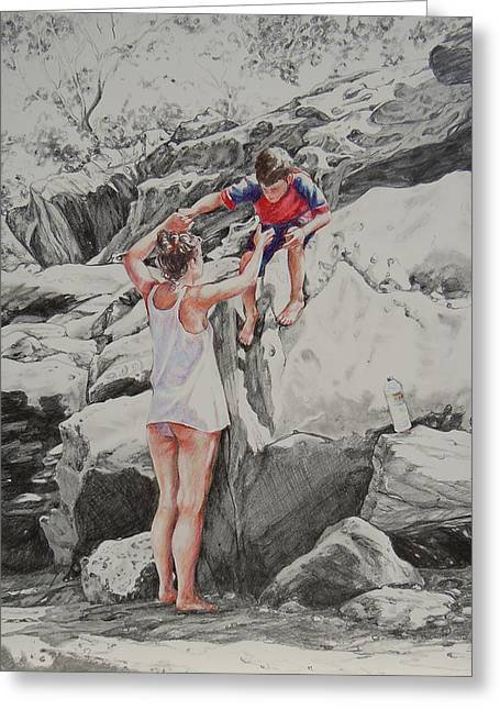 Family Walks Drawings Greeting Cards - Into My Arms Greeting Card by Sherry McCourt