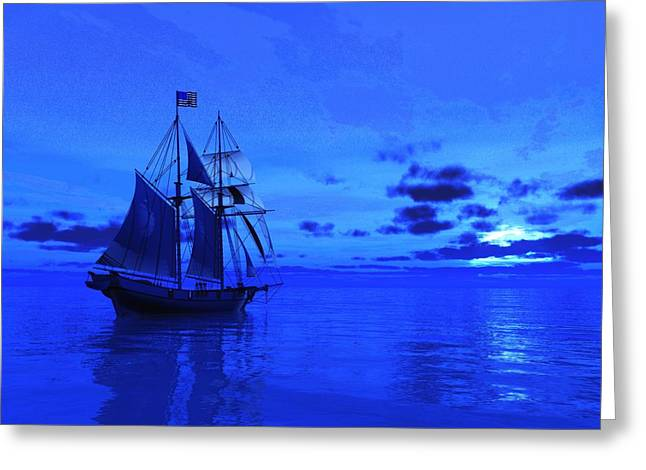 Tall Ships Greeting Cards - Into the Blue Greeting Card by Timothy McPherson