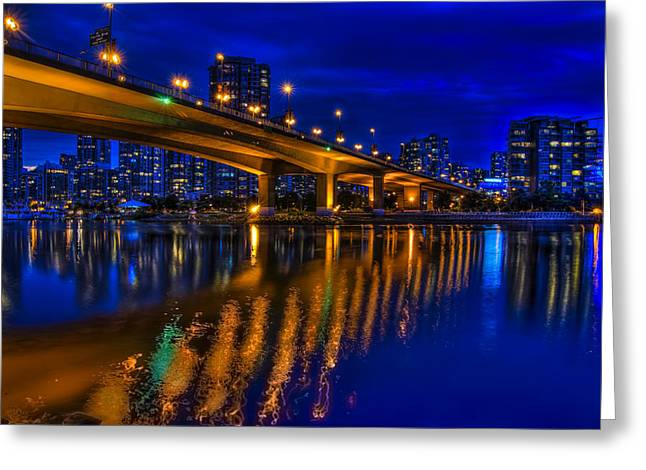 Cambie Bridge Greeting Cards - Into the Blue Greeting Card by Viktor Lakics